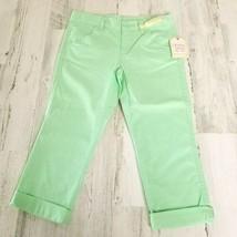 Girls Size 8 Faded Glory Chino Roll Cuff Capri Pants Mint Green Adjustable Waist - $9.68