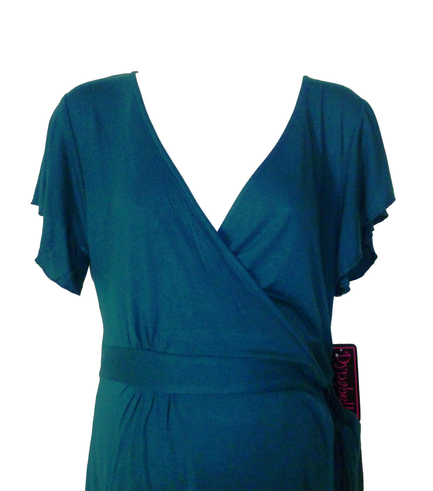 New Maternity Teal Knit Wrap Dress