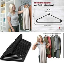 Black Heavy Duty Plastic Clothes Standard Hangers Space Saving Shirt Pan... - $34.72