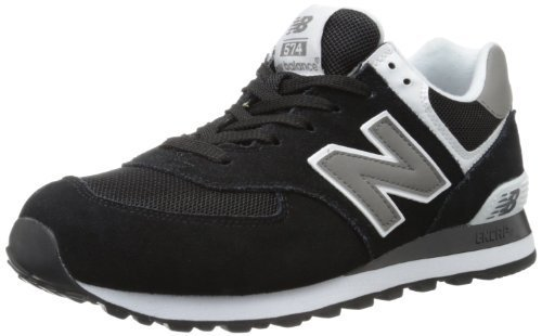 New Balance Men's ML574 Classic Sneaker,Black/White,8 2E US
