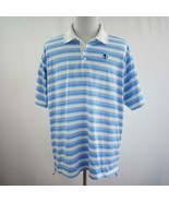 Adidas ClimaCool Golf 3 Button Blue and White Striped Polo Shirt Mens Sz XL - $38.60