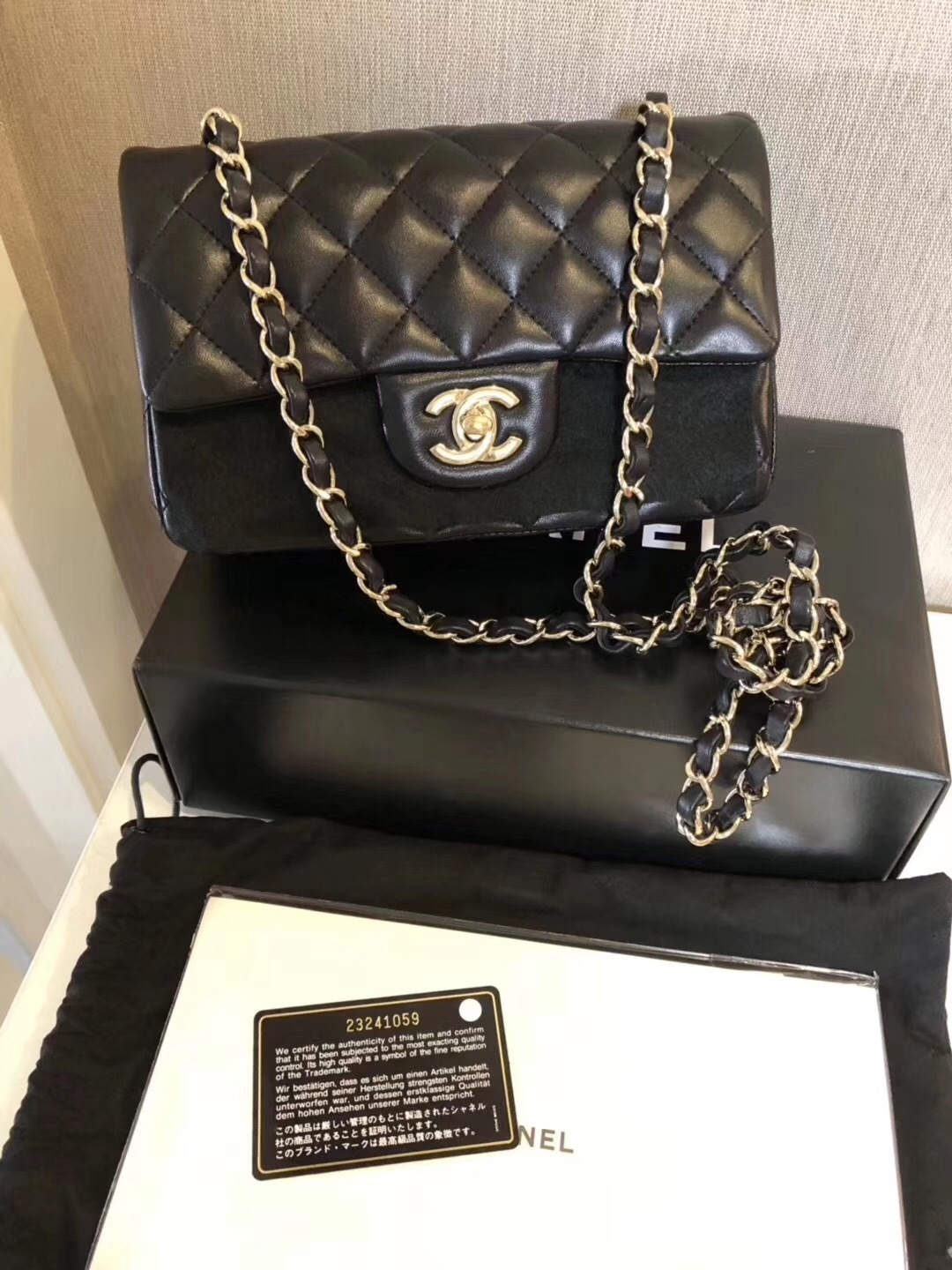 AUTHENTIC CHANEL BLACK QUILTED LAMBSKIN 20cm  LARGE MINI RECTANGULAR FLAP BAG