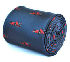 Frederick Thomas navy blue tie with F1 racing car design FT1932