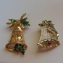 Vintage Signed Gold Tone Enamel Christmas Bell Broochs/Pins - $19.31