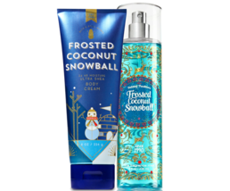 BATH & BODY WORKS Frosted Coconut Snowball Body Cream + Fine Fragrance M... - $27.53