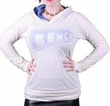Bench Womens Brooklyn Cream Pullover Blue Lined Hooded Shirt Hoodie