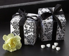 264 Black White Damask Mint Candy Bridal Wedding Favor Boxes w/Satin Ribbon - $78.80