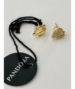 Genuine Pandora 18K Gold Plated Shining & Sparkling Leaf Stud Earrings - $54.95