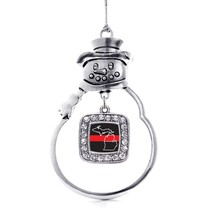 Inspired Silver Michigan Thin Red Line Classic Snowman Holiday Ornament - $14.69