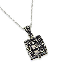 Solid Sterling Silver Holy Bible Locket Book With Adjustable Chain Neckl... - $58.31