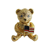 Napier Gold Tone Articulated Teddy Bear Brooch Pin with American Flag - $36.00