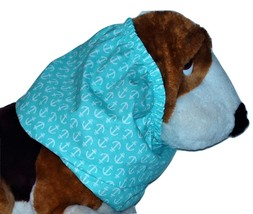 Turquoise White Anchors Nautical Cotton Dog Snood by Howlin Hounds Puppy... - $10.50