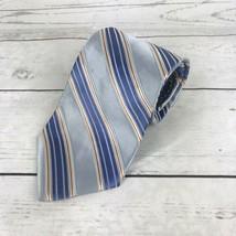 Tommy Hilfiger Mens Tie Blue Diagonally Striped Silk Neck Tie - $8.49