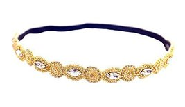 Hand-beaded Crystal Rhinestones Headband Headdress, Golden