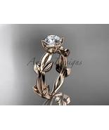 Rose gold unique engagement ring, 14k rose  vine and leaf engagement rin... - $900.00