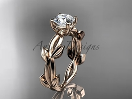 Rose gold unique engagement ring, 14k rose  vine and leaf engagement ring with a - €762,06 EUR
