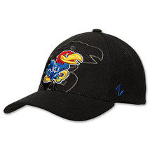 Zephyr Kansas Jayhawks College Covert Custom Stretch Hat KANCVC00 BLK Black - £19.12 GBP