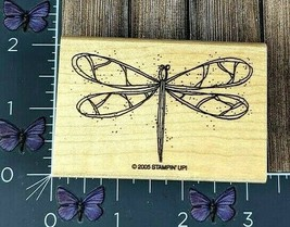 Stampin' Up! Dragonfly Bug Rubber Stamp 2005 Flying Wood Mount #G62 - $4.46