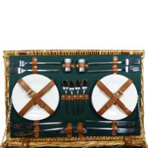 Deluxe Regal 4 Person Picnic Basket with Cream Fleece Blanket - $2.269,33 MXN