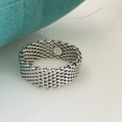 6bee66e56 Tiffany & Co Sterling Silver Somerset Mesh Weave Men's Unisex Ring Size 14