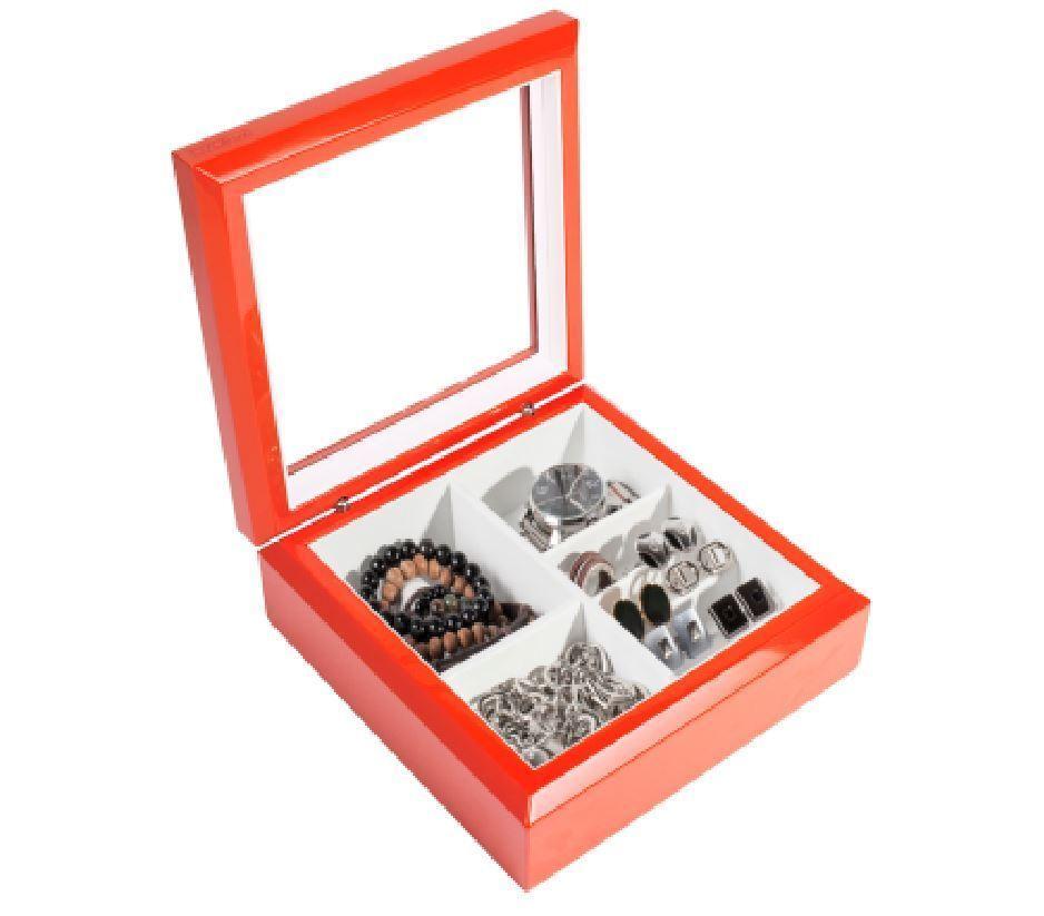 OYOBox Luxury Unisex Jewelry Box Orange Lacquer Finish Wooden Jewelry Box