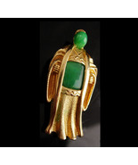 Vintage Marvella Buddha brooch / Vintage signed couture jewelry - Jade e... - $85.00