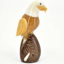 Hand Carved Tagua Nut Carving Eagle Bird Figurine Handmade in Ecuador