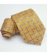 New tie Gold & Blue Jacquard necktie 100% silk MORGANA Italy wedding / b... - $25.33