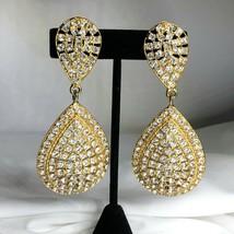 Bijoux Designs Clip On Earrings Dangle Drop Bezel Set Rhinestone Bling 3... - $55.24