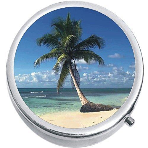 Palm Tree Paradise Beach Medicine Vitamin Compact Pill Box - $9.78