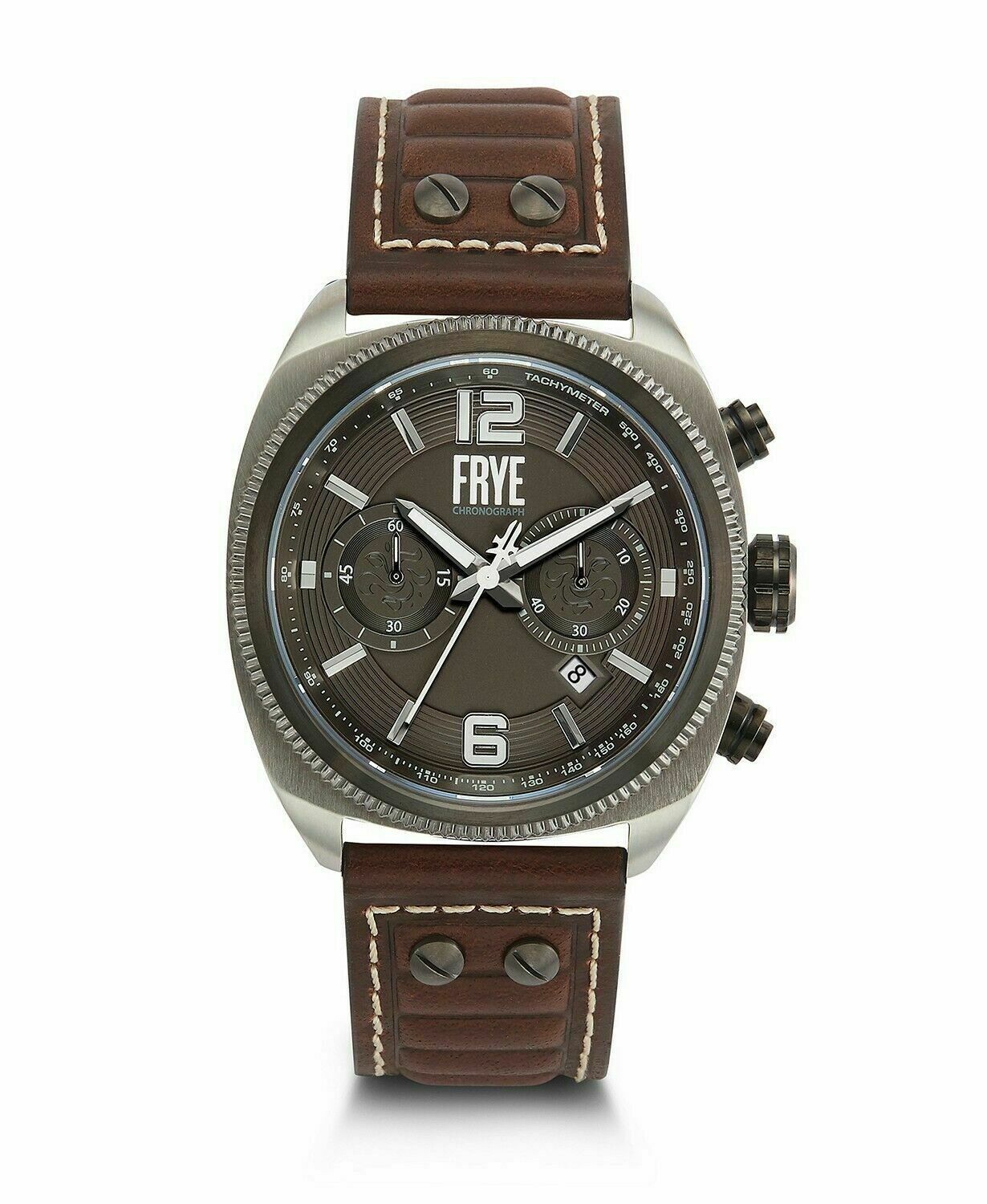 Primary image for BRAND NEW FRYE 37FR00008-04 MOTO ENGINEER CHRONO BROWN LEATHER STEEL MEN'S WATCH