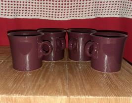 Homer Laughlin Tom Jerry Ring Handle 4 Coffee Mugs Fiesta Cinnabar Burgundy Red - $8.60