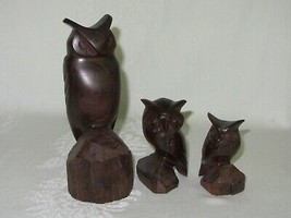 Lot of 3 Hand Carved Wood Vintage Owl Bird Figurines Figures MCM Art - $33.65