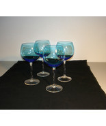 "Set 4 Wine Water Stemmed  Glasses Blue & Clear 9"" Tall - £55.27 GBP"