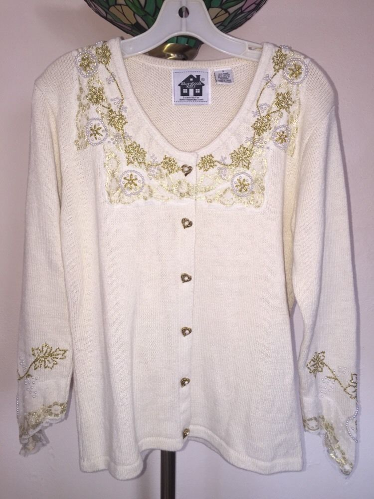 "Primary image for STORYBOOK KNITS ""PEARLS OF LOVE"" CARDIGAN SWEATER SZ SMALL -- BEAUTIFUL!"