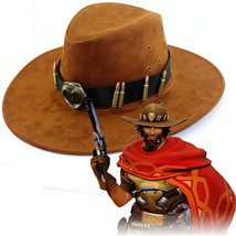 Hot Game Overwatch McCree Cowboy Hat with Badge Cosplay Costume Prop Acc... - $17.99