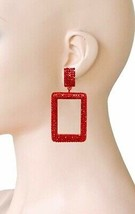 "2.75"" Long Red Rhinestones Rectangular Hoop Statement Clip On Earring Urban Chic - $17.10"