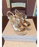 """FABULOUS JIMMY CHOO """"Nessa"""" Nude Mirrored Leather Sandal Wedges, Size 37 - $153.45"""