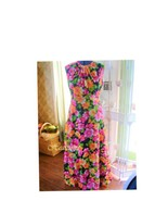 Dress vintage 70s bright flower child costume maxi hippie Lg - $28.00