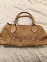 Cole Haan village hobo embroidered leather bag tan beige - $65.34