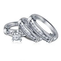 Mens Womens Trio Ring Set Round Cut White Diamond White Gold Finish 925 Silver - $152.99