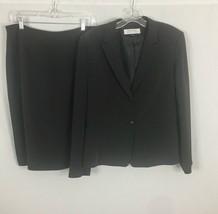 TAHARI ASL Women's 2 Pc Suit ~ Jacket & Skirt ~ 14 ~ Brown w/ Yellow Mic... - $45.53