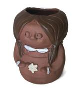 "Vtg Mid Century Large Girl 9"" high Stoneware Pottery Planter Vase Figure - $41.58"