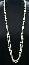 White Silver Metallic Swirl Long Glass Bead Beaded Necklace Vintage - $29.69