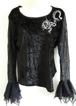 GOTH black velvet long sleeved top with spider Web detail by dark star dragon 14 - $46.48