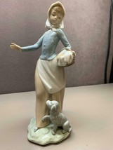 NAO BY LLADRO FIGURE GIRL WITH BASKET AND PUPPY DOG THE PICNIC #02000590 - $45.04