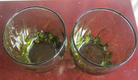 Vintage (2) Short Anchor Hocking Swirl Design Avocado Green Color Glass Tumblers