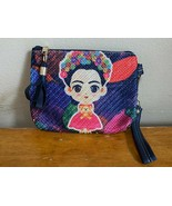 Multicolor Navy Floral Frida Kahlo Muneca Doll Woven Cosmetic Bag Tote Clutch - $14.50