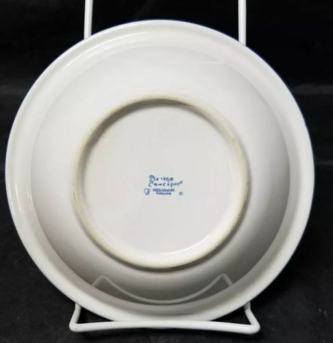 "Design Concepts Cereal Bowls Set of 4, 7"" Soup Bowls, White, Blue Trim Tulips image 5"