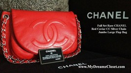 FULL SET RARE CHANEL RED CAVIAR CC SILVER CHAIN JUMBO LARGE FLAP BAG - $2,250.00